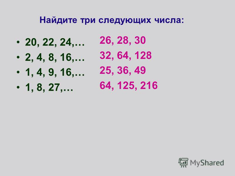 Найдите три следующих числа: 20, 22, 24,… 2, 4, 8, 16,… 1, 4, 9, 16,… 1, 8, 27,… 26, 28, 30 32, 64, 128 25, 36, 49 64, 125, 216
