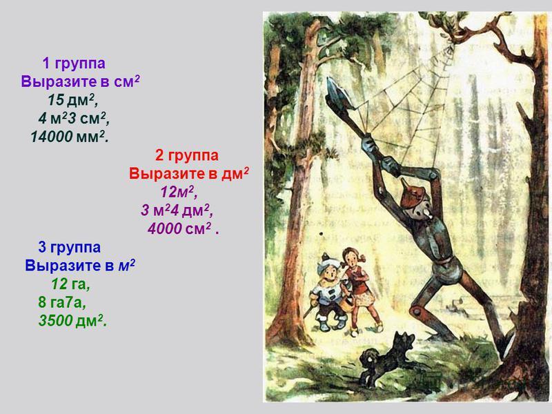 1 группа Выразите в см 2 15 дм 2, 4 м 2 3 см 2, 14000 мм 2. 2 группа Выразите в дм 2 12 м 2, 3 м 2 4 дм 2, 4000 см 2. 3 группа Выразите в м 2 12 га, 8 га 7 а, 3500 дм 2.