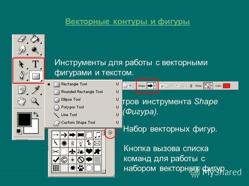Векторные контуры и фигуры Инструменты для работы с векторными фигурами и текстом. Панель параметров инструмента Shape (Фигура). Набор векторных фигур. Кнопка вызова списка команд для работы с набором векторных фигур.