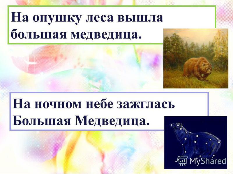 На ночном небе зажглась Большая Медведица. На опушку леса вышла большая медведица.