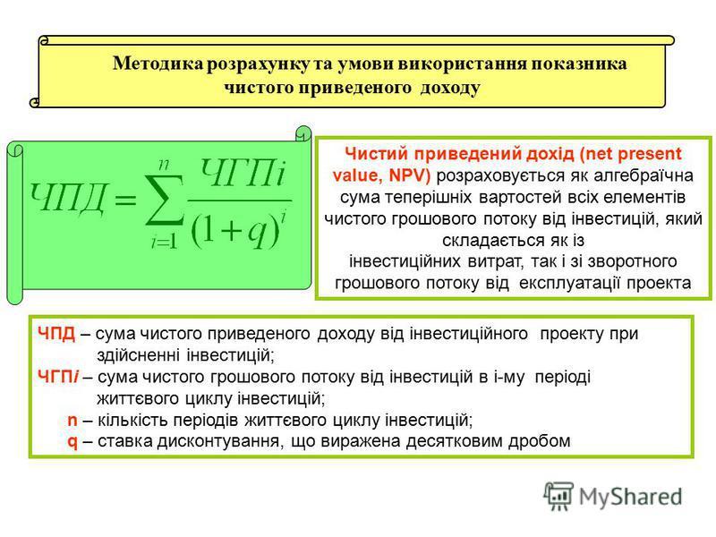 Методика розрахунку та умови використання показника чистого приведеного доходу Чистий приведений дохід (net present value, NPV) розраховується як алгебраїчна сума теперішніх вартостей всіх елементів чистого грошового потоку від інвестицій, який склад