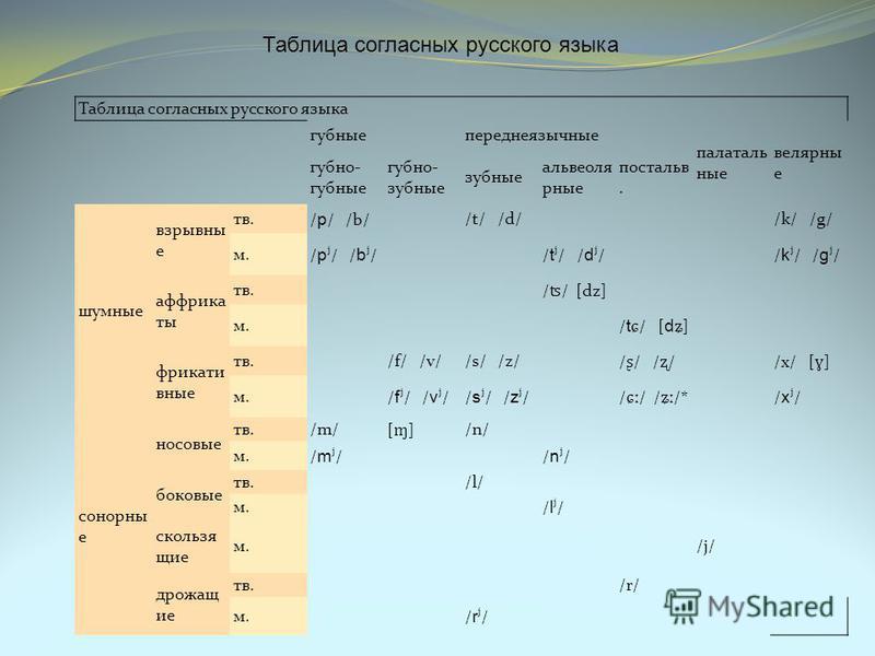 Таблица согласных русского языка губныепереднеязычные палаталь ные велярный е губно- губные губно- зубные зубные альвеолярные постальв. шумные взрывные тв./ p / /b/ /t/ /d/ /k/ /g/ м. / p ʲ / / b ʲ / / t ʲ / / d ʲ / / k ʲ / / g ʲ / аффрикаты тв. / ʦ