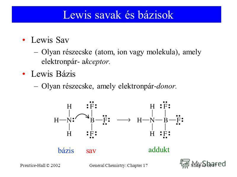 Prentice-Hall © 2002General Chemistry: Chapter 17Slide 43 of 47 Lewis savak és bázisok Lewis Sav –Olyan részecske (atom, ion vagy molekula), amely elektronpár- akceptor. Lewis Bázis –Olyan részecske, amely elektronpár-donor. bázissav addukt