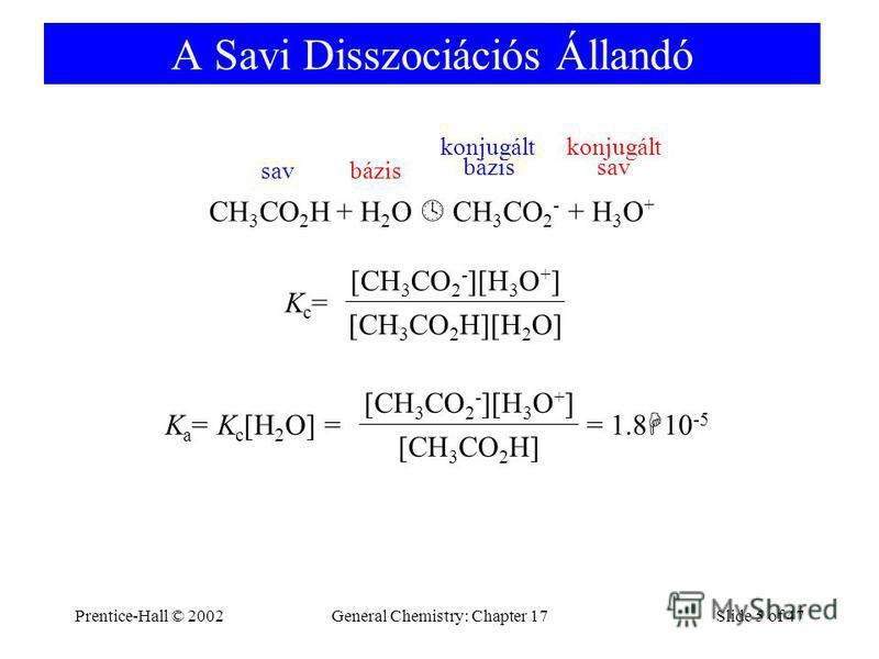 Prentice-Hall © 2002General Chemistry: Chapter 17Slide 5 of 47 A Savi Disszociációs Állandó CH 3 CO 2 H + H 2 O CH 3 CO 2 - + H 3 O + Kc=Kc= [CH 3 CO 2 H][H 2 O] [CH 3 CO 2 - ][H 3 O + ] K a = K c [H 2 O] = = 1.8 10 -5 [CH 3 CO 2 H] [CH 3 CO 2 - ][H
