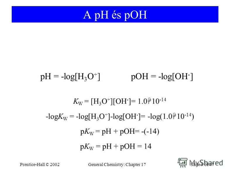 Prentice-Hall © 2002General Chemistry: Chapter 17Slide 9 of 47 A pH és pOH pH = -log[H 3 O + ]pOH = -log[OH - ] -logK W = -log[H 3 O + ]-log[OH - ]= -log(1.0 10 -14 ) K W = [H 3 O + ][OH - ]= 1.0 10 -14 pK W = pH + pOH= -(-14) pK W = pH + pOH = 14
