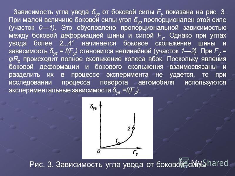 Зависимость угла увода δ ув от боковой силы F y показана на рис. 3. При малой величине боковой силы угол δ ув пропорционален этой силе (участок 01). Это обусловлено пропорциональной зависимостью между боковой деформацией шины и силой F y. Однако при
