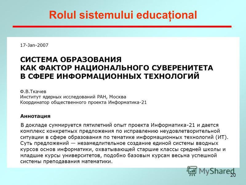 20 Rolul sistemului educaţional