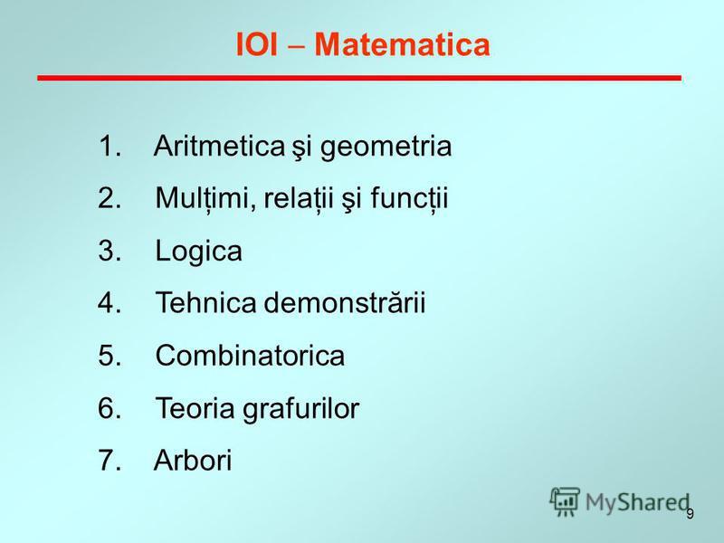 9 IOI Matematica 1. Aritmetica şi geometria 2. Mulţimi, relaţii şi funcţii 3. Logica 4. Tehnica demonstrării 5. Combinatorica 6. Teoria grafurilor 7. Arbori