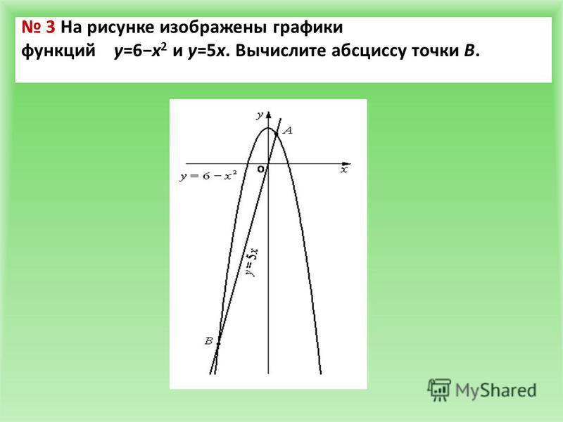 3 На рисунке изображены графики функций y=6x 2 и y=5x. Вычислите абсциссу точки B.