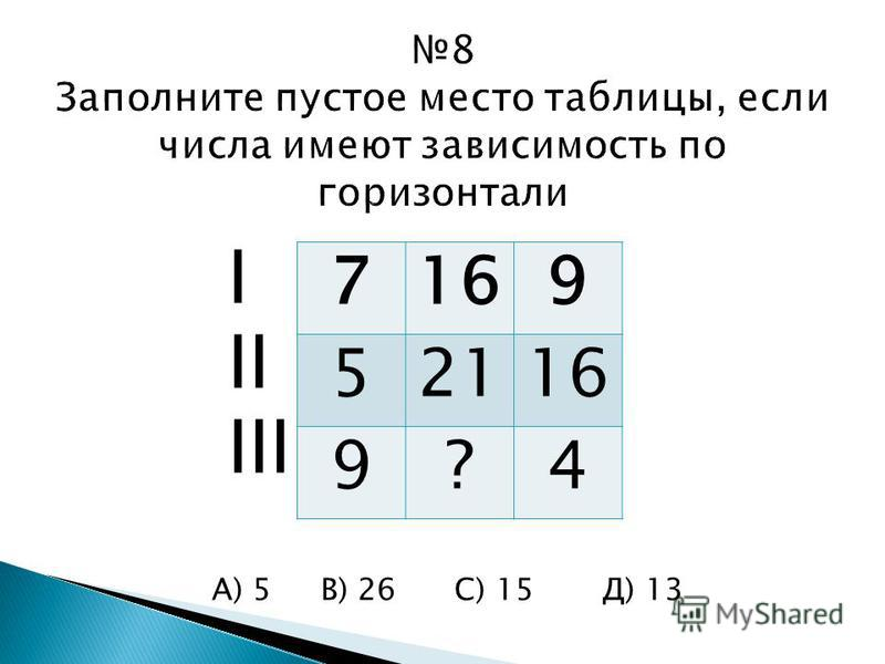 I II III А) 5 В) 26 С) 15 Д) 13 7169 52116 9?4