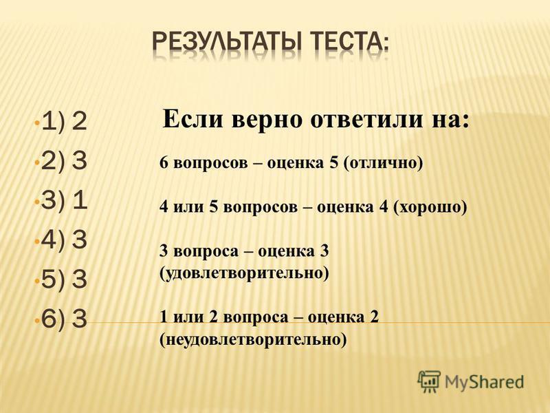 1) 2 2) 3 3) 1 4) 3 5) 3 6) 3 Если верно ответили на: 6 вопросов – оценка 5 (отлично) 4 или 5 вопросов – оценка 4 (хорошо) 3 вопроса – оценка 3 (удовлетворительно) 1 или 2 вопроса – оценка 2 (неудовлетворительно)