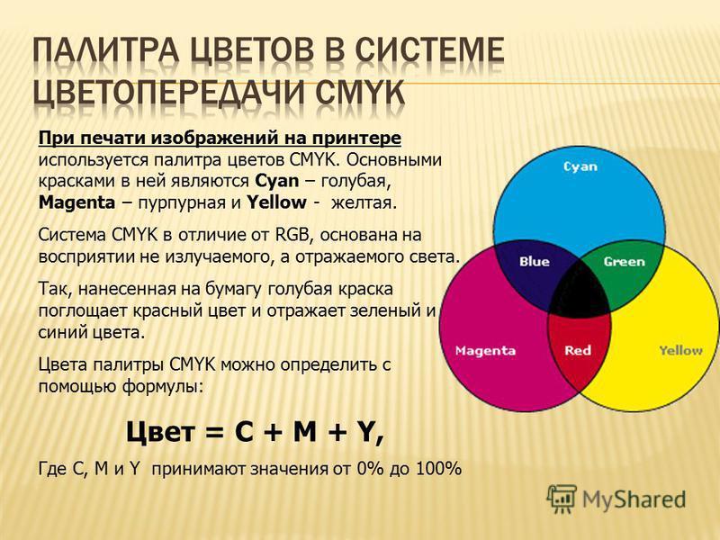При печати изображений на принтере используется палитра цветов CMYK. Основными красками в ней являются Cyan – голубая, Magenta – пурпурная и Yellow - желтая. Система CMYK в отличие от RGB, основана на восприятии не излучаемого, а отражаемого света. Т