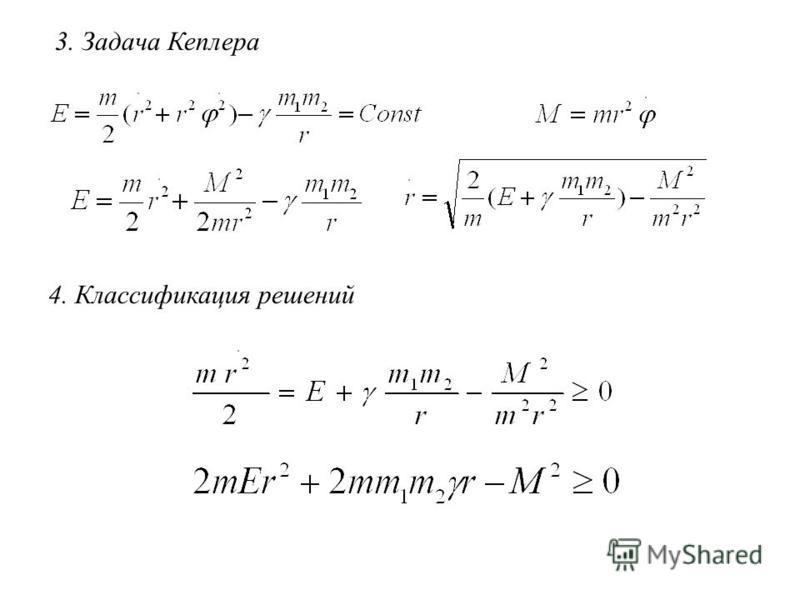 3. Задача Кеплера 4. Классификация решений