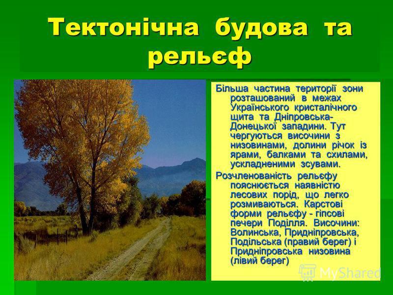 Тектонічна будова та рельєф Більша частина території зони розташований в межах Українського кристалічного щита та Дніпровська- Донецької западини. Тут чергуються височини з низовинами, долини річок із ярами, балками та схилами, ускладненими зсувами.