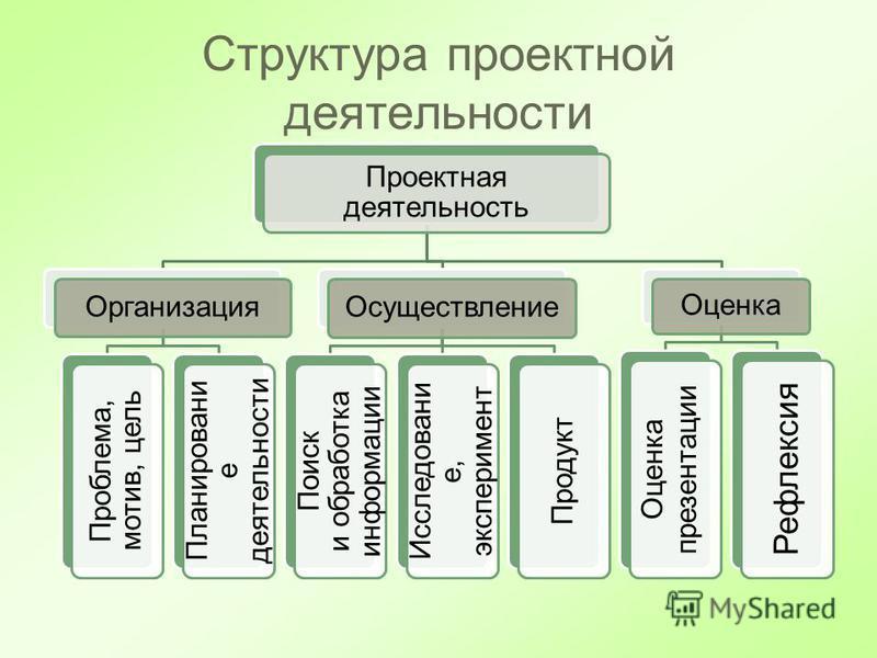 Структура проектной деятельности Проектная деятельность Организация Проблема, мотив, цель Планировани е деятельности Осуществление Поиск и обработка информации Исследовани е, эксперимент Продукт Оценка Оценка презентации Рефлексия