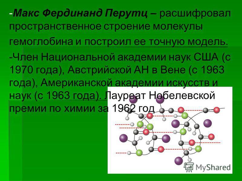 -Макс Фердинанд Перутц – расшифровал пространственное строение молекулы гемоглобина и построил ее точную модель. -Член Национальной академии наук США (с 1970 года), Австрийской АН в Вене (с 1963 года), Американской академии искусств и наук (с 1963 го