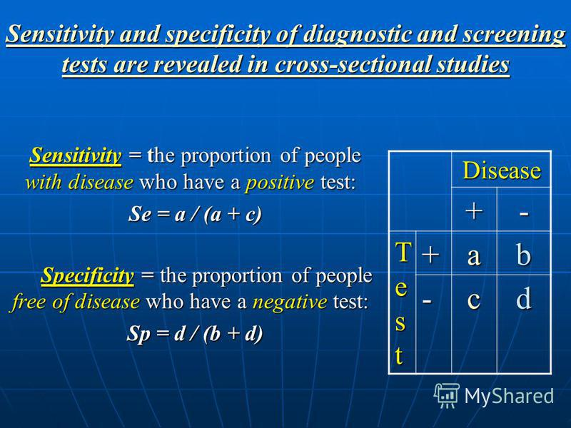 Diagnostic Test Accuracy measurements Sensitivity is the probability of a positive test in a diseased person Specificity is the probability of a negative test in a non-diseased person