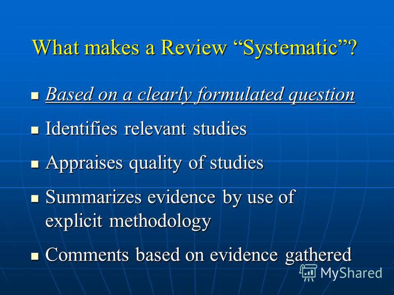 What is a meta-analysis? Optional part of a systematic review Systematic review Meta-analyses