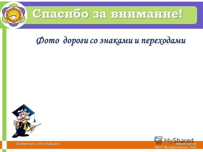 Багаев Артем МБОУ Междуреченская СОШ Конференция «Шаг в будущее» Спасибо за внимание! Фото дороги со знаками и переходами