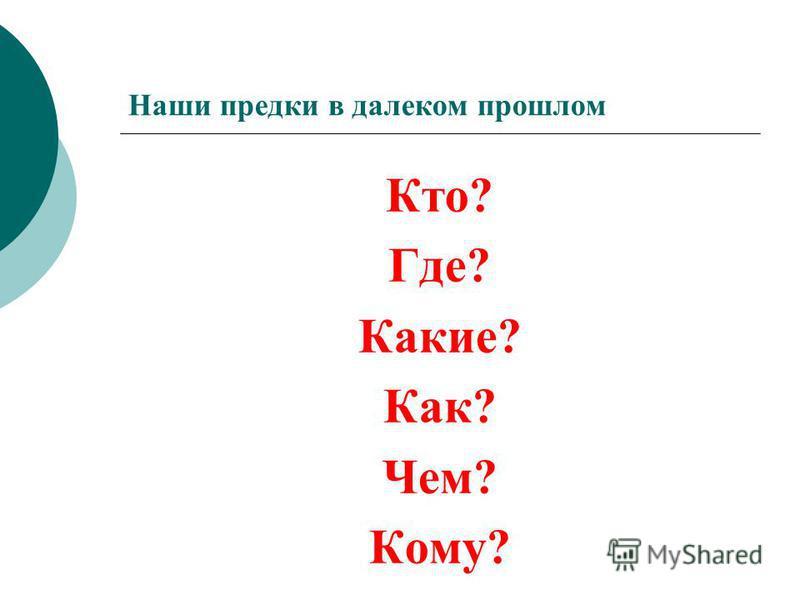 Кто? Где? Какие? Как? Чем? Кому?
