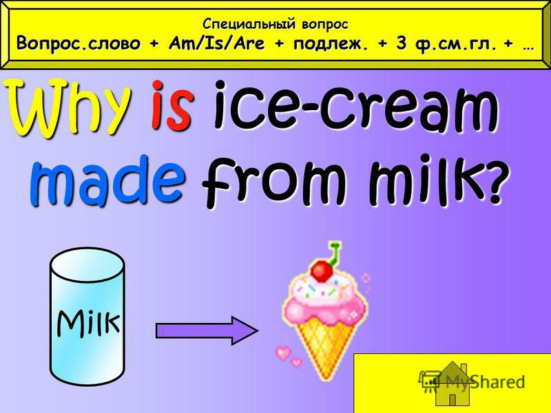 Why is ice-cream made from milk? Milk Специальный вопрос Вопрос.слово + Am/Is/Are + подлеж. + 3 ф.см.гл.+ … Вопрос.слово + Am/Is/Are + подлеж. + 3 ф.см.гл. + …