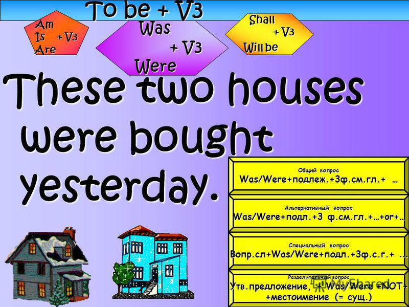 To be + V3 These two houses were bought yesterday. Was + V3 + V3Were Shall + V3 Will be Am Is + V3 Are Общий вопрос Общий вопрос Was/Were+подлеж.+3 ф.см.гл.+ … Was/Were+подлеж.+3 ф.см.гл.+ … Альтернативный вопрос Альтернативный вопрос Was/Were+подл.+