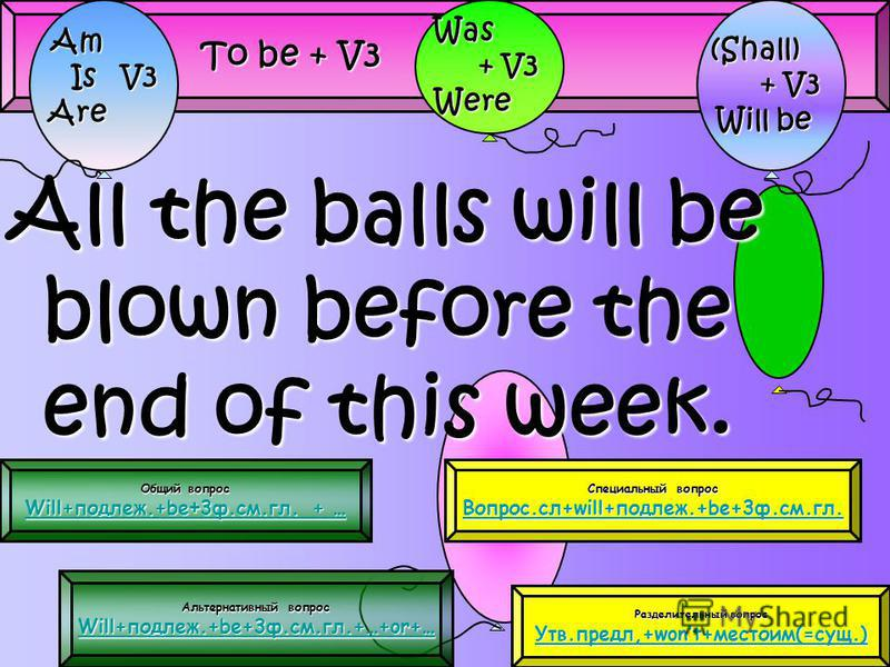 All the balls will be blown before the end of this week. To be + V3 Am Is V3 Is V3Are (Shall) (Shall) + V3 + V3 Will be Will beWas + V3 + V3Were Общий вопрос Общий вопрос Will+подлеж.+be + 3 ф.см.гл. + … Will+подлеж.+be + 3 ф.см.гл. + … Альтернативны
