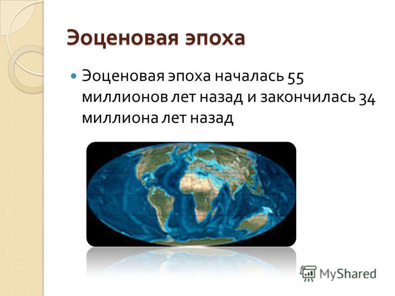 Эоценовая эпоха Эоценовая эпоха началась 55 миллионов лет назад и закончилась 34 миллиона лет назад
