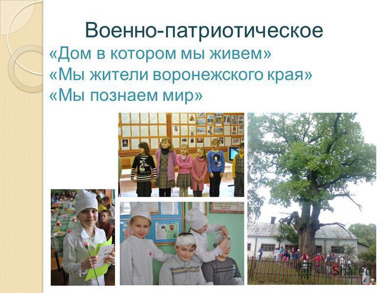 Военно-патриотическое «Дом в котором мы живем» «Мы жители воронежского края» «Мы познаем мир»
