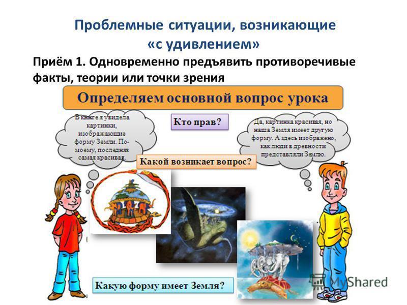 Проблемные ситуации, возникающие «с удивлением» Приём 1. Одновременно предъявить противоречивые факты, теории или точки зрения