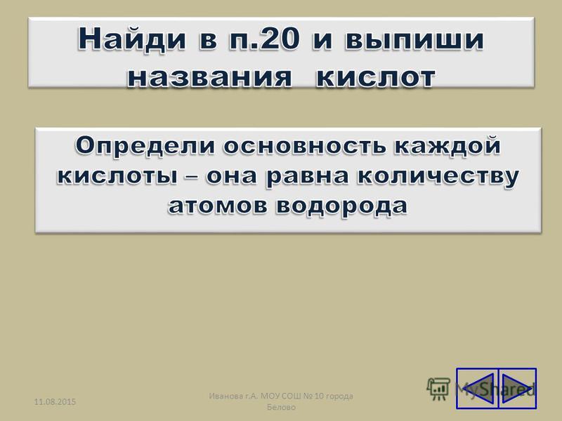 11.08.201521 Иванова г.А. МОУ СОШ 10 города Белово