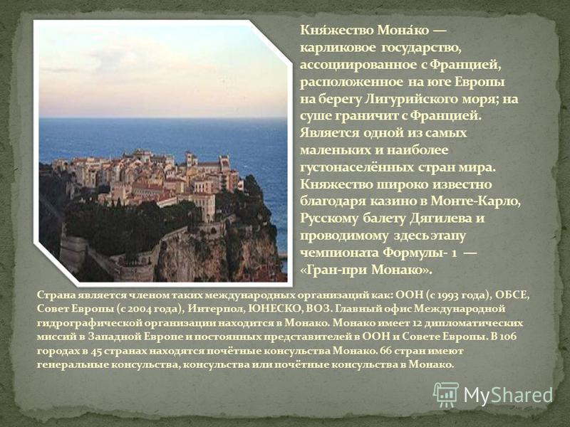 Страна является членом таких международных организаций как: ООН (с 1993 года), ОБСЕ, Совет Европы (с 2004 года), Интерпол, ЮНЕСКО, ВОЗ. Главный офис Международной гидрографической организации находится в Монако. Монако имеет 12 дипломатических миссий