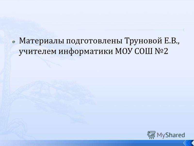 Материалы подготовлены Труновой Е.В., учителем информатики МОУ СОШ 2