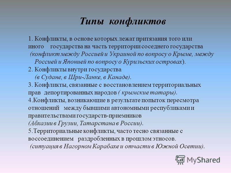 Типы конфликтов 1. Конфликты, в основе которых лежат притязания того или иного государства на часть территории соседнего государства (конфликт между Россией и Украиной по вопросу о Крыме, между Россией и Японией по вопросу о Курильских островах). 2.