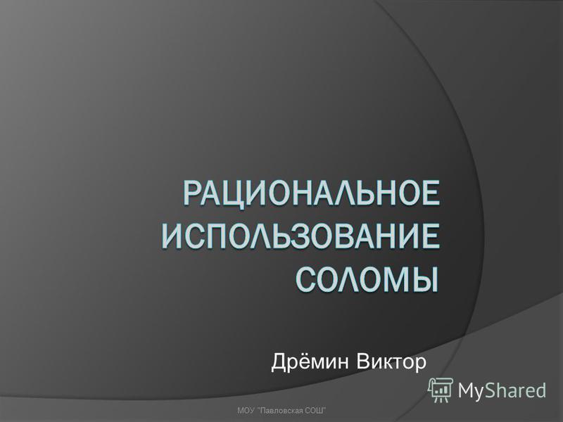 Дрёмин Виктор МОУ Павловская СОШ