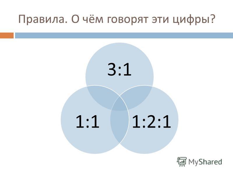 Правила. О чём говорят эти цифры ? 3:1 1:2:11:1