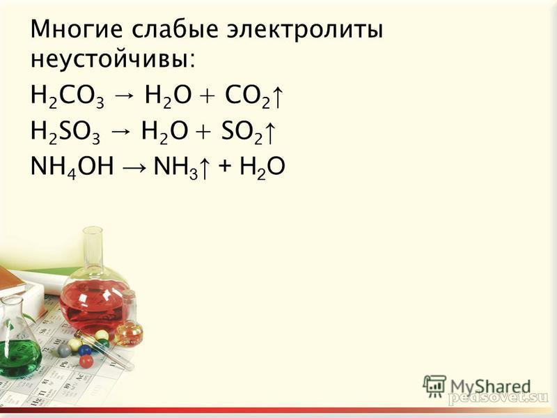Многие слабые электролиты неустойчивы: H 2 CO 3 H 2 O + CO 2 H 2 SO 3 H 2 O + SO 2 NH 4 OH NH 3 + H 2 O