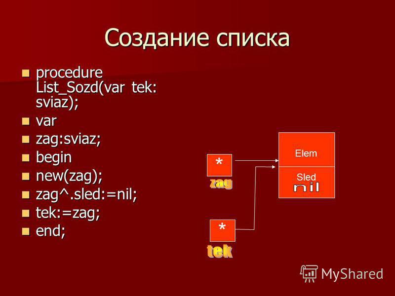 Создание списка procedure List_Sozd(var tek: sviaz); procedure List_Sozd(var tek: sviaz); var var zag:sviaz; zag:sviaz; begin begin new(zag); new(zag); zag^.sled:=nil; zag^.sled:=nil; tek:=zag; tek:=zag; end; end; * Elem Sled *