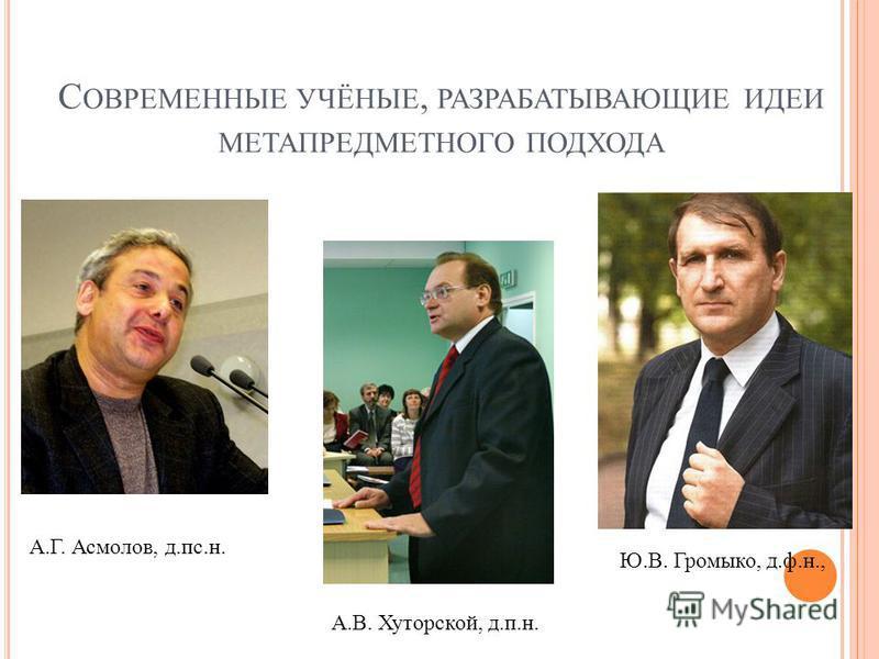 С ОВРЕМЕННЫЕ УЧЁНЫЕ, РАЗРАБАТЫВАЮЩИЕ ИДЕИ МЕТАПРЕДМЕТНОГО ПОДХОДА А.Г. Асмолов, д.пс.н. А.В. Хуторской, д.п.н. Ю.В. Громыко, д.ф.н.,