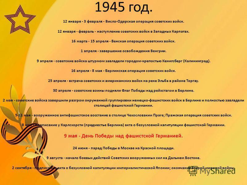 1945 год. 12 января - 3 февраля - Висло-Одерская операция советских войск. 12 января - февраль - наступление советских войск в Западных Карпатах. 16 марта - 15 апреля - Венская операция советских войск. 1 апреля - завершение освобождения Венгрии. 9 а