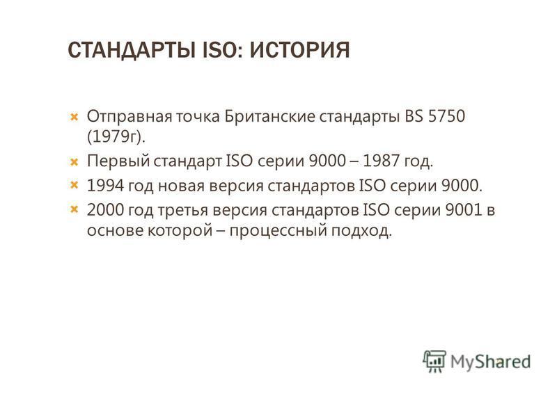 СТАНДАРТЫ ISO: ИСТОРИЯ Отправная точка Британские стандарты BS 5750 (1979 г). Первый стандарт ISO серии 9000 – 1987 год. 1994 год новая версия стандартов ISO серии 9000. 2000 год третья версия стандартов ISO серии 9001 в основе которой – процессный п