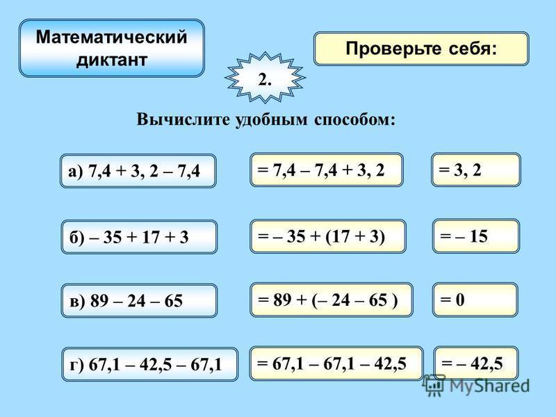 Проверьте себя: 2. Вычислите удобным способом: а) 7,4 + 3, 2 – 7,4 = 7,4 – 7,4 + 3, 2 Математический диктант = 3, 2 б) – 35 + 17 + 3 = – 35 + (17 + 3) = – 15 в) 89 – 24 – 65 = 89 + (– 24 – 65 ) = 0 г) 67,1 – 42,5 – 67,1 = 67,1 – 67,1 – 42,5 = – 42,5