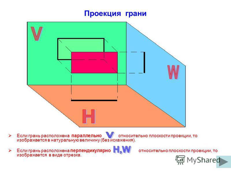 Проекция грани Если грань расположена параллельно относительно плоскости проекции, то изображается в натуральную величину (без искажения). Если грань расположена перпендикулярно относительно плоскости проекции, то изображается в виде отрезка.