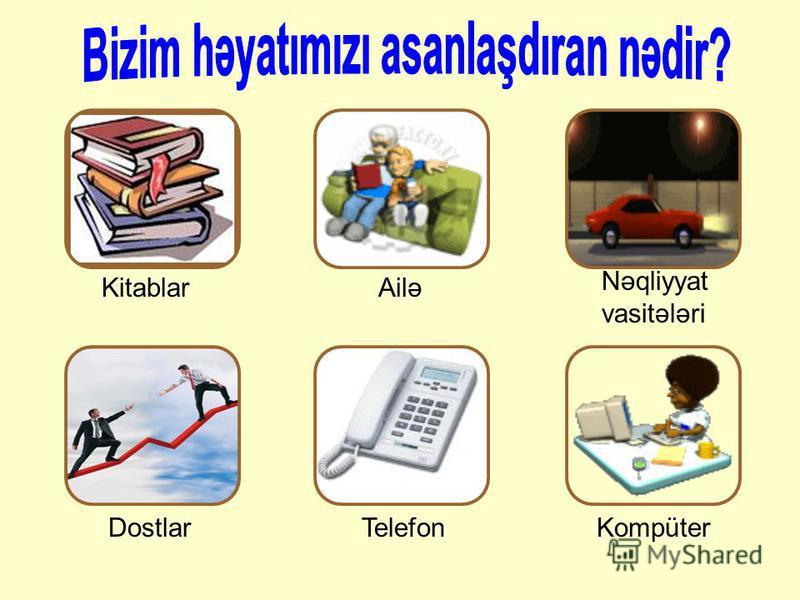 AiləKitablar Nəqliyyat vasitələri TelefonKompüterDostlar