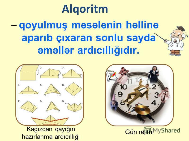 Alqoritm – qoyulmuş məsələnin həllinə aparıb çıxaran sonlu sayda əməllər ardıcıllığıdır. Gün rejimi Kağızdan qayığın hazırlanma ardıcıllığı