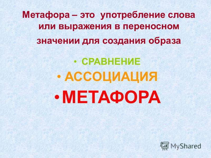 Метафора – это употребление слова или выражения в переносном значении для создания образа СРАВНЕНИЕ АССОЦИАЦИЯ МЕТАФОРА