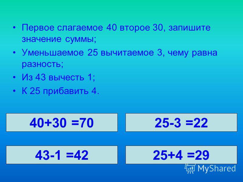 Первое слагаемое 40 второе 30, запишите значение суммы; Уменьшаемое 25 вычитаемое 3, чему равна разность; Из 43 вычесть 1; К 25 прибавить 4. 40+30 =7025-3 =22 43-1 =4225+4 =29