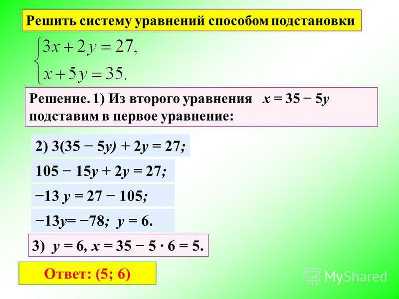 Решить систему уравнений способом подстановки Решение. 1) Из второго уравнения x = 35 5y подставим в первое уравнение: 2) 3(35 5y) + 2y = 27; 105 15y + 2y = 27; 13 y = 27 105; 13y= 78; y = 6. 3) y = 6, x = 35 5 6 = 5. Ответ: (5; 6)
