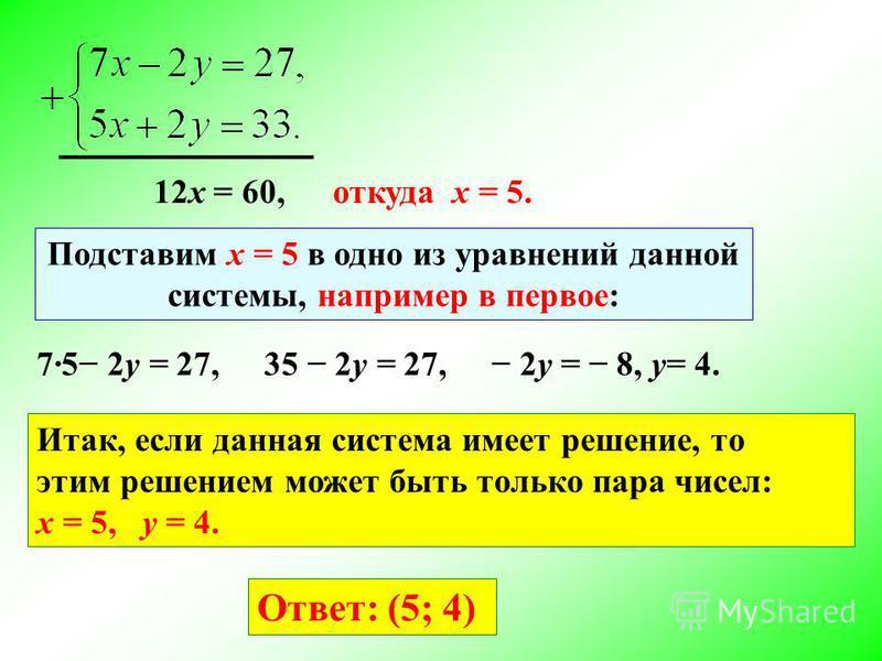 12 х = 60,откуда х = 5. Подставим х = 5 в одно из уравнений данной системы, например в первое: 75 2y = 27,35 2y = 27, 2y = 8, y= 4. Итак, если данная система имеет решение, то этим решением может быть только пара чисел: x = 5, y = 4. Ответ: (5; 4)