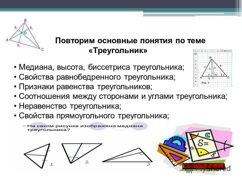 Повторим основные понятия по теме «Треугоеельник» Медиана, высота, биссектриса треугоеельника; Свойства равнобедренного треугоеельника; Признаки равенства треугоеельников; Соотношения между сторонами и углами треугоеельника; Неравенство треугоеельник